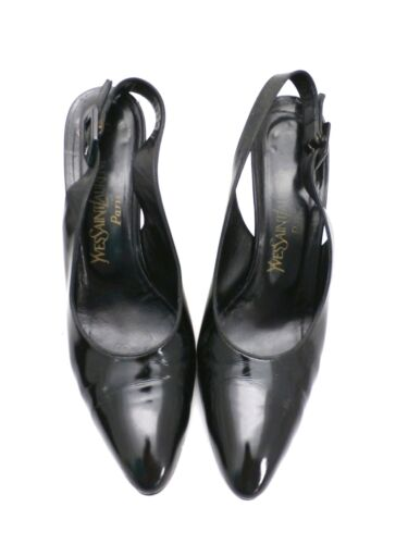 Authentic YSL Slingback Black Patent Leather High