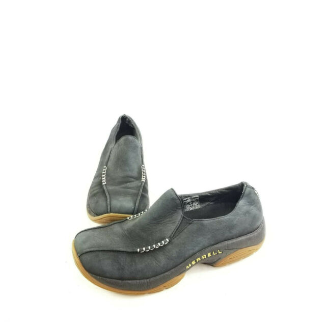 Merrell Womens Primo Seam Moc Black Oyster Air Cushion Slip On Shoes Size US 8