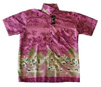 Mens Thai Silk Shirt From Bangkok Thailand - New Design  Around Thailand  L   51