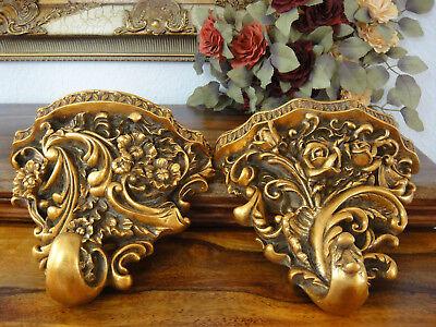 Wandkonsole Floral Gold Konsole Antik Barock Wandregal Ablage Jugendstil Edel