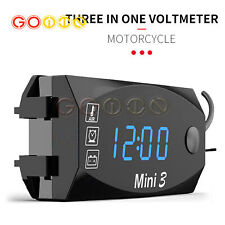 New Clock Thermometer 3 In 1 Led Electronic Meter 12v Universal Ip67 Waterproof