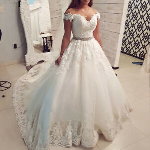 Sexy 2020 Lace V Neck Off Shoulder Wedding Dress Bridal Gown Plus Size 14 26 Ebay,Tulle And Lace Wedding Dresses