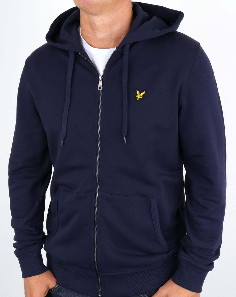 Lyle And Scott Zip Through Hoodie in Navy - hooded sweat, hoody