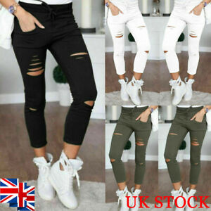 Women/'s Skinny Pencil Pants Leggings Stretch Ripped Trousers High Waist Casual