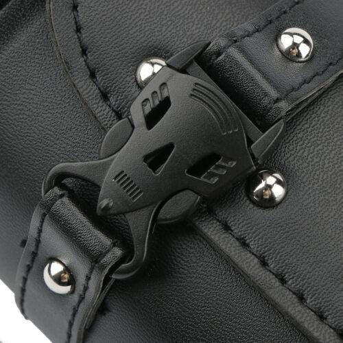 20.5x11cm Rivet Roll Barrel Tool Bag Motorcycle Leather Chrome Studs Saddle-bag