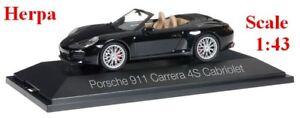 Porsche 991 (2016)  Carrera 4S cabriolet noire - HERPA -  Echelle 1/43