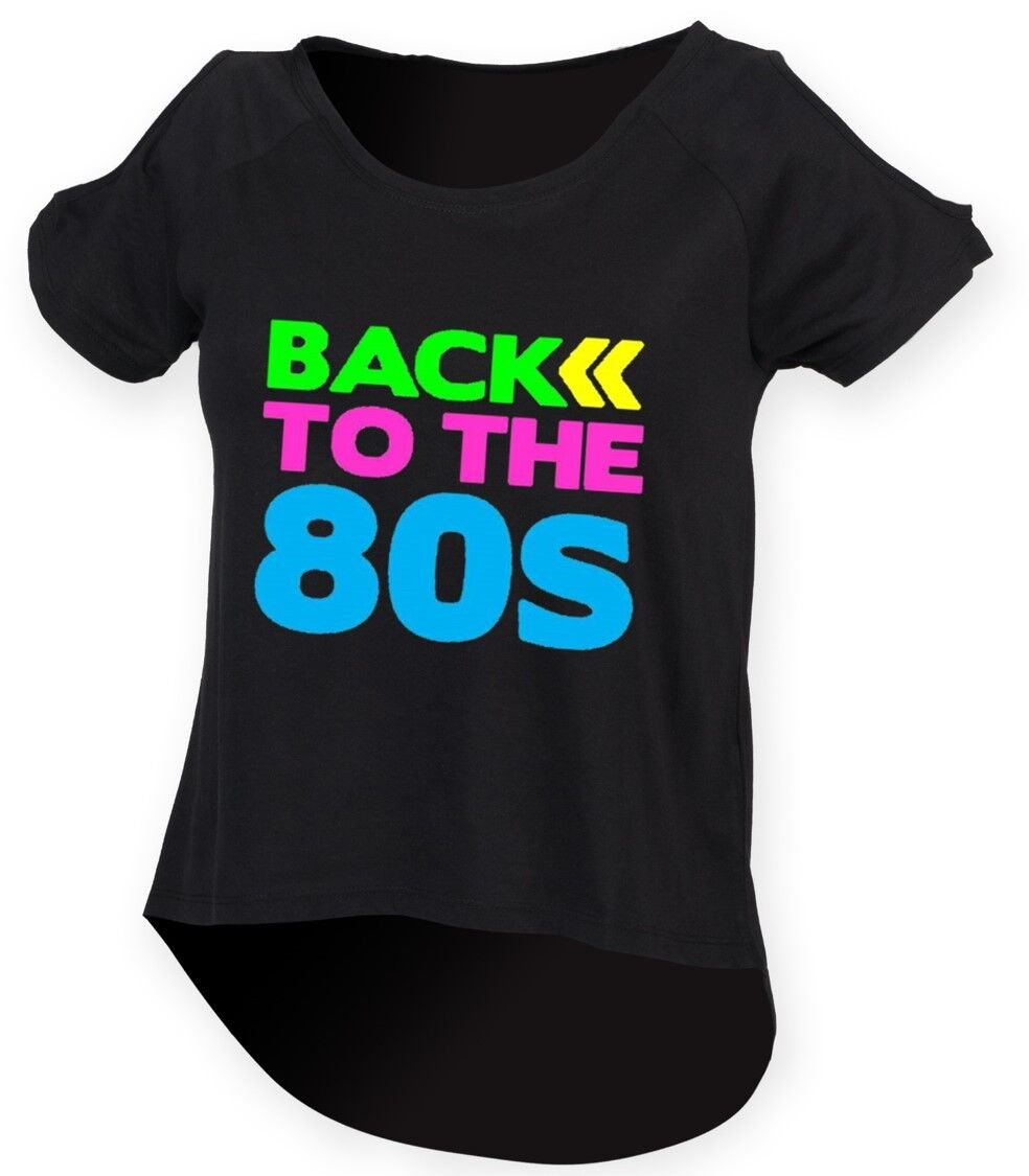 BACK TO THE 80s Ladies Drop Tail Top 8-18 80/'s Outfit Fancy Dress Costume Neon