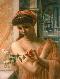 Olgemaelde-Edward-John-Poynter-Psyche-junges-Maedchen-mit-Blumen-auf-Leinwand