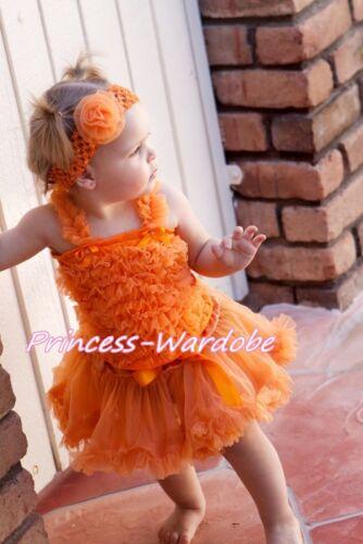 Newborn Baby Halloween Orange Pettiskirt with Orange Ruffles Top 2PC Set 3-12 M