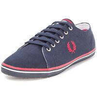 Fred Perry Kingston Twill Mens Trainers Canvas Navy Red New Shoes