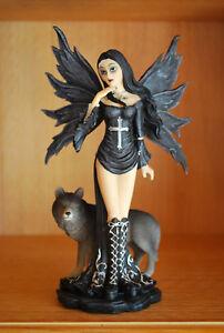 Elfe-mit-Wolf-Fantasy-Figur-Fairy-Mystik-Gothic-Fee