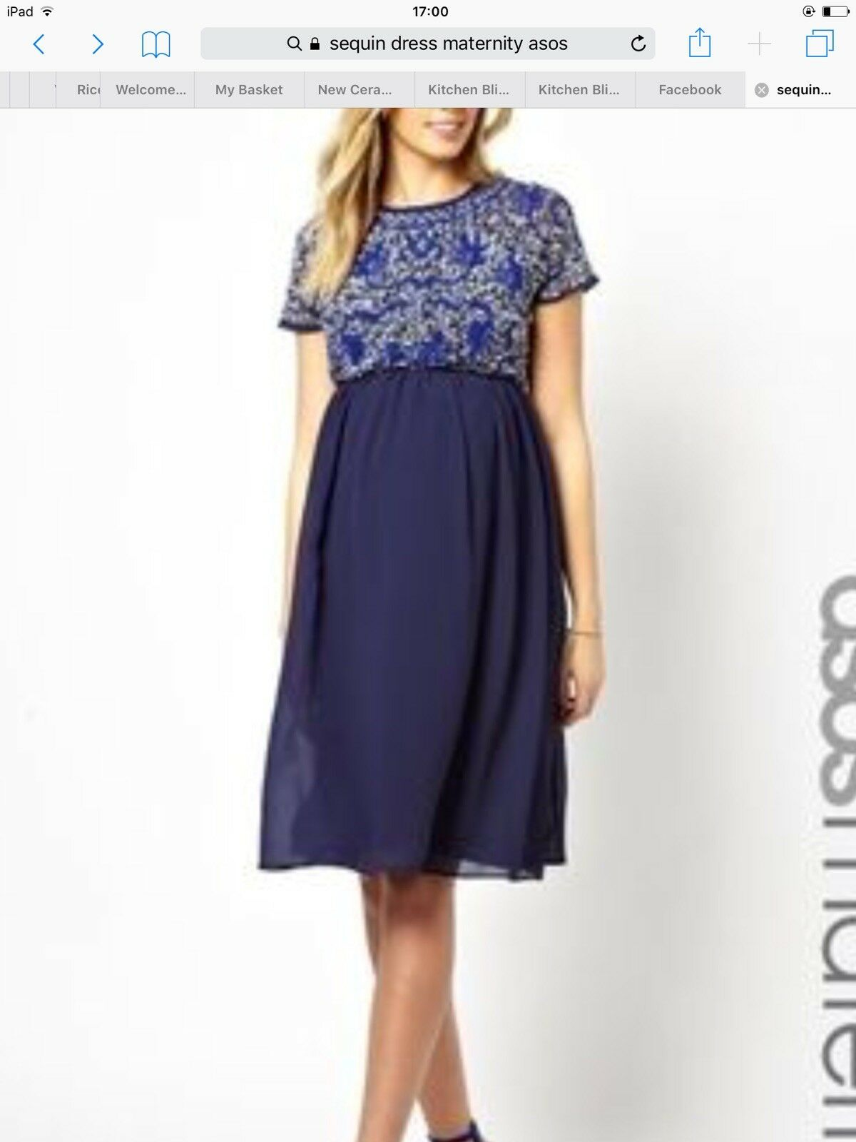 Maternity Dress Asos bluee Sequin Party Christmas 8 Small