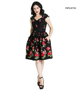 Hell-Bunny-Pin-Up-Mid-Length-50s-Dress-ANTONIA-Rose-Floral-Black
