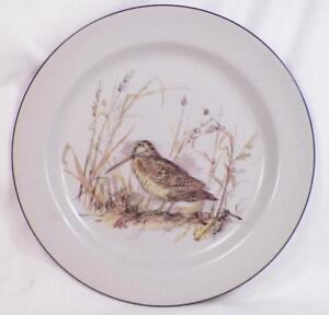 Mancioli Italy Dinner Plate Brown Bird Water Fowl Porcelain Gray Bakcground