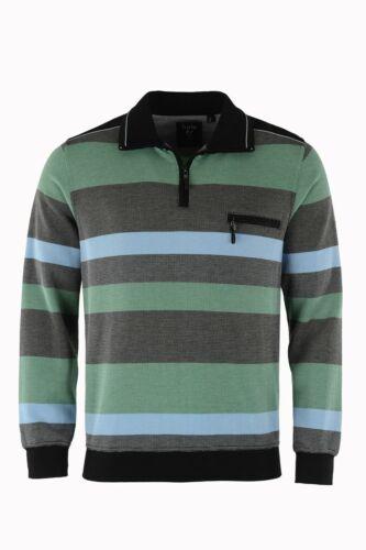 HAJO Sweat-shirt manches longues Sweat Stay Fresh grande taille 26650 100 vert rayé