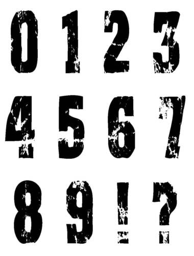 Unmounted Rubber Stamps 6049 Distressed Numbers