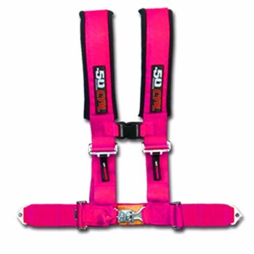 Pink 50 Caliber Racing Safety Belt 3 in Can-Am Commander Maverick Max Baja 1000