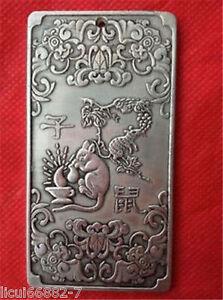 Old-Chinese-tibet-Silver-Chinese-Zodiac-mouse-Bullion-thanka-amulet-Pendant