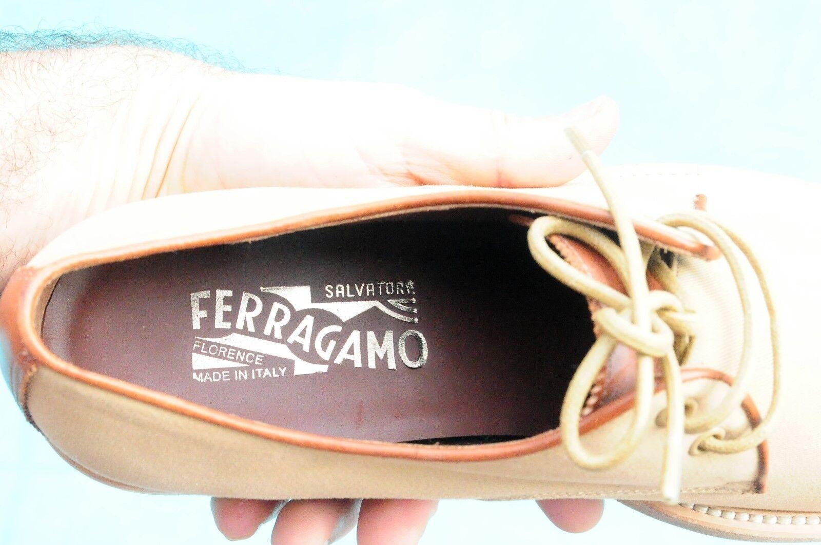 Salvatore Ferragamo Lavorazione Originale Beige Canvas Dress Dress Dress schuhe Brand 8.5E cf170c