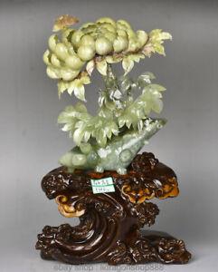 "16 ""Chinois Naturel 100% Xiu Jade Jadéite Bloomy Lotus feuille de fleur"