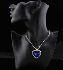 9k Real White Gold Filled Women's/Blue Diamond Heart Shape Necklace & Pendant...