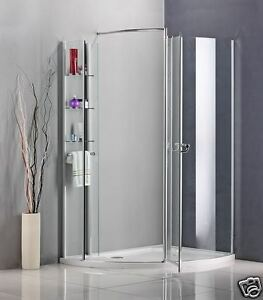 Walk-In-Shower-Enclosure-Pivot-door-Wet-Room-Cubicle-Bathroom-Glass-Stone-Tray-A