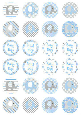 24 Elephant Boy Blue Baby Shower 4cm round cupcake edible images toppers