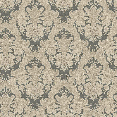 5 ROLL LOT - Lace Damask Cream Charcoal Gray Wallpaper