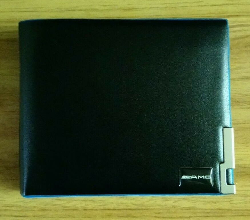 1X NEW Leather wallet with blue edging and Mercedes-Benz AMG logo