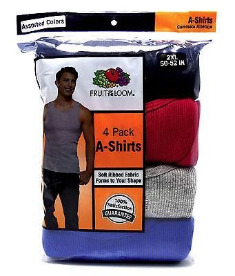 8 Black Gray 2XL 50-52 Inch A-Shirt Tank Fruit Of The Loom 2EG 127-132 CM