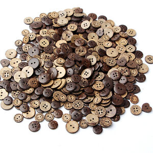 50-lot-Round-Natural-Wooden-4-Hole-Sewing-Brown-Coconut-Shell-Buttons-Hot-Sale