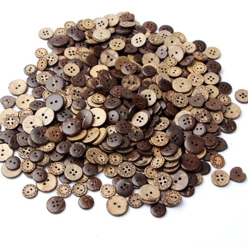 50\lot Round Natural Wooden 4 Hole Sewing Brown Coconut Shell Buttons Hot Sale