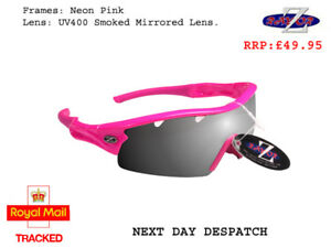 29e3c27fb8d RayZor Uv400 Pink Sports Wrap Sunglasses Vented Smoked Mirrored Lens ...