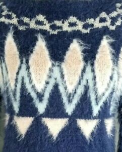 LAUREN-CONRAD-Size-XS-Fuzzy-Blue-Pink-Fair-Isle-Crew-Neck-Sweater-New