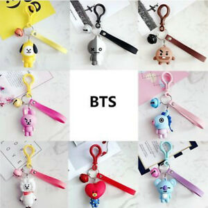 Kpop-BTS-BT21-Cartoon-Acrylic-Keychain-Bag-Pendant-Keyring-TATA-COOKY-MANG