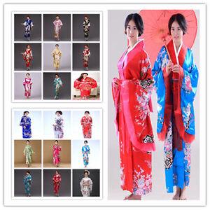 Hot Robe giapponese Geisha Dress Cosplay Yukata Vintage Retro Kimono Obi rBScqrfg