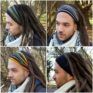 Image is loading Mens-Headband-Dreadband-Head-Scarf-Turban-Dreadlock-Hair- 7c9c8800da2