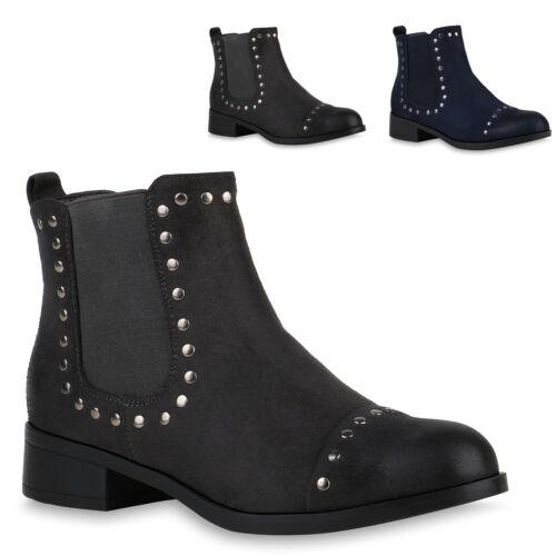 Damen Stiefeletten Chelsea Boots Booties Blockabsatz Schuhe 832222 Trendy Neu