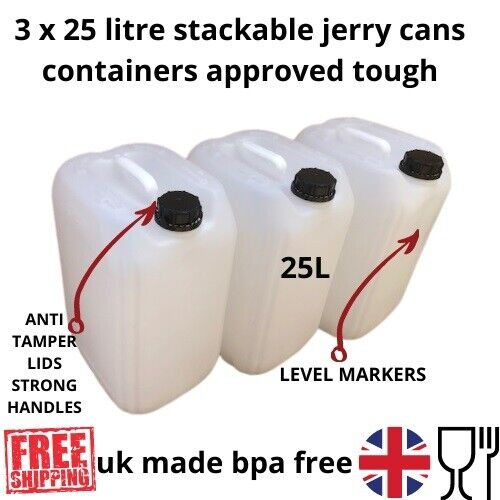 3 x 25 litre new plastic bottle canister water container carrier stackable