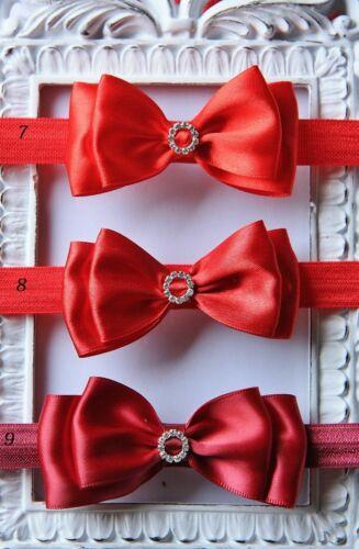 Baby Girls Bow Headband Satin Bow Elastic Hairband Wedding Christening Party