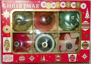 6-Shiny-Brite-Hand-Made-Glass-Christmas-Ornaments-Stenciled-West-Germany-MCM-Box