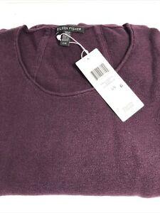 Womens Top Eileen Fisher organic cotton silk scoop neck top Large Raisin $258