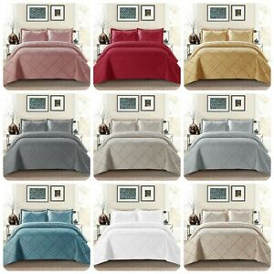 3Pcs Raffle Bedspread Quilted Embossed Bed Throw and 2 pillow case in all Sizes