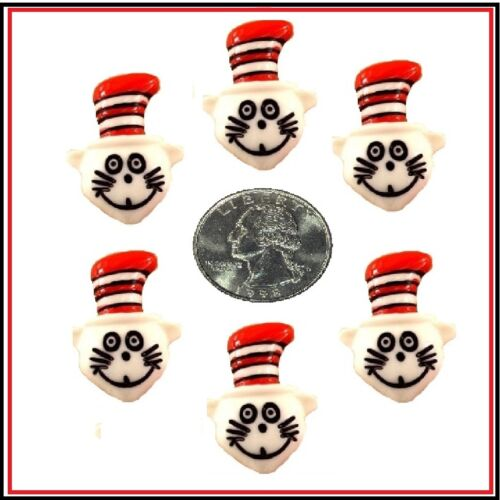 6 PC SMALL CAT IN THE HAT FLATBACK FLAT BACK RESINS HAIRBOW BOW CENTER