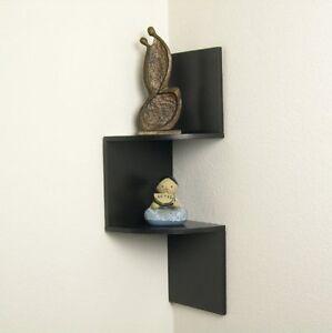 corner shelf wall dark brown wood shelves shelf ebay. Black Bedroom Furniture Sets. Home Design Ideas