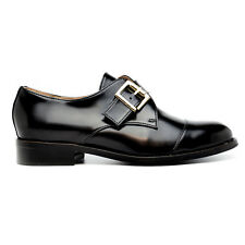 Woman monk strap flat in black vegan leather with metal buckle bold...