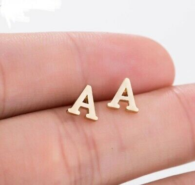 Gold Cute Alphabet Stud Tiny Initial letter Earrings Jewellery UK Seller A-Z