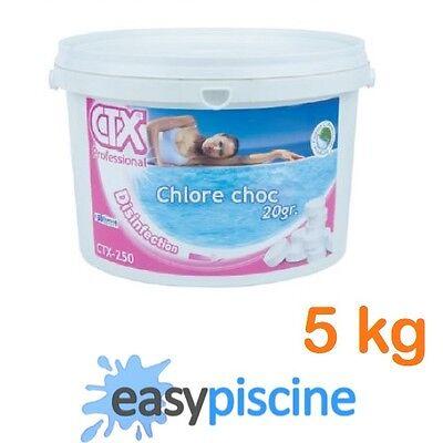 CHLORE CHOC POUR PISCINE CTX-250 (ASTRAL-POOL) PASTILLES 20 GR. / SEAU DE 5 KG
