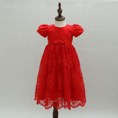 Newborn Baby Girls Christening//Birthday//Prom Tutu Red Party Princess Dress 35