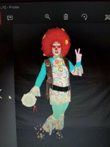 Character Clown Competition Hippy Costume with Wig